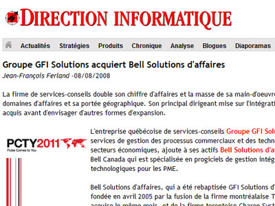 Groupe GFI Solutions acquiert Bell Solutions d'affaires - Direction Informatique
