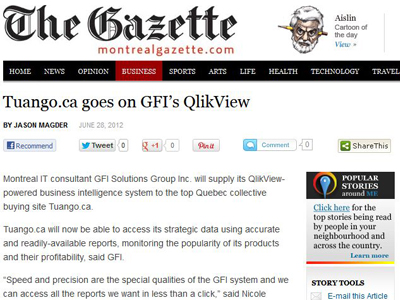 Tuango.ca goes on GFI's Business Intelligence System Qlikview